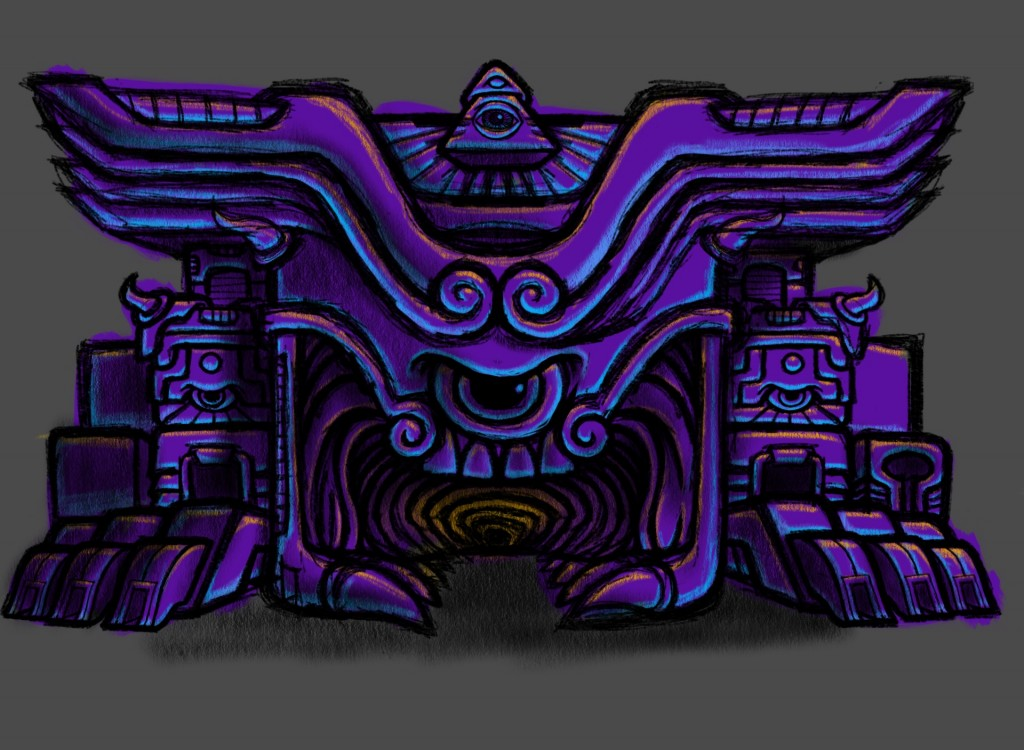 Psychedelic Monster Anger Temple Sketch Color 01 by George Coghill
