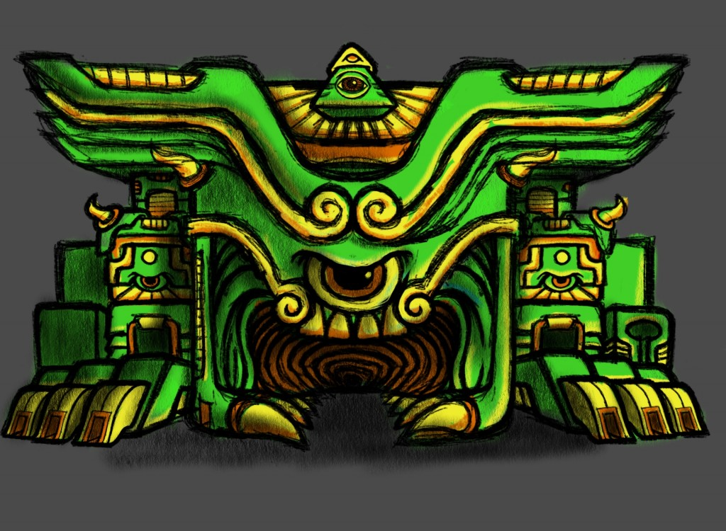 Psychedelic Monster Anger Temple Sketch Color 03 Coghill