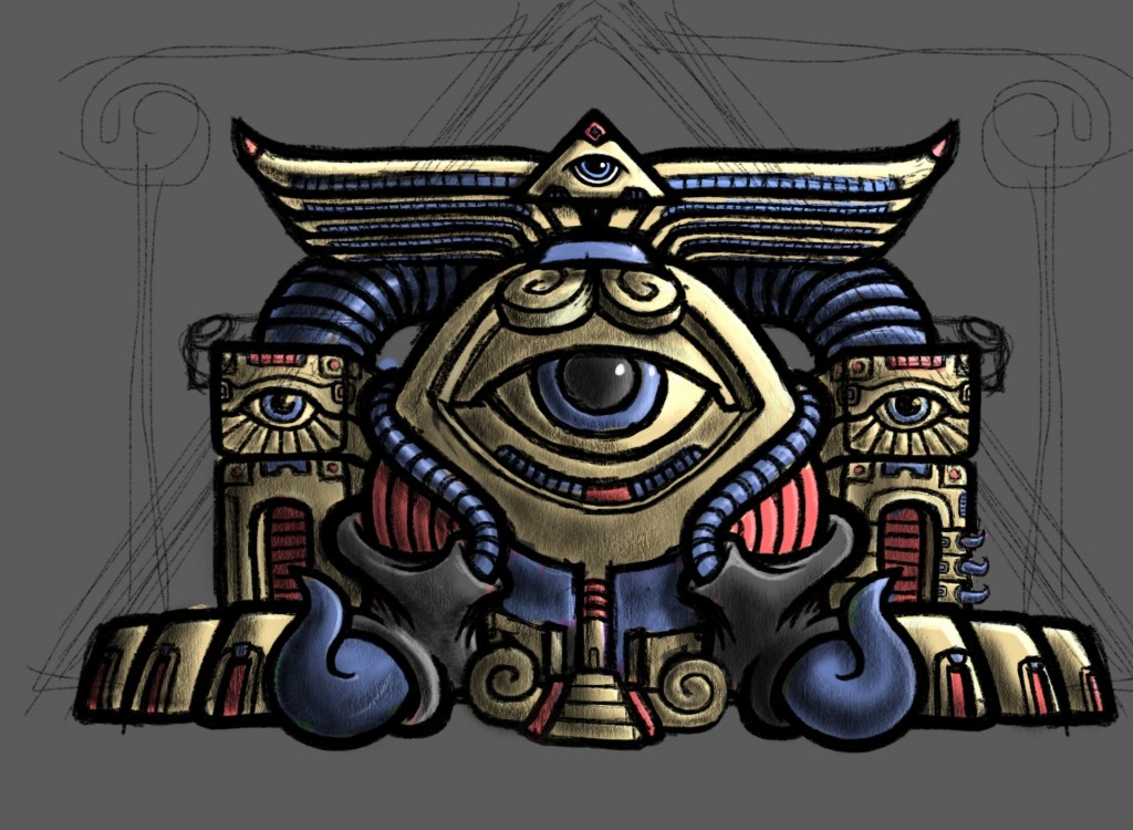 Psychedelic Monster Egg Temple Sketch Color by George Coghill