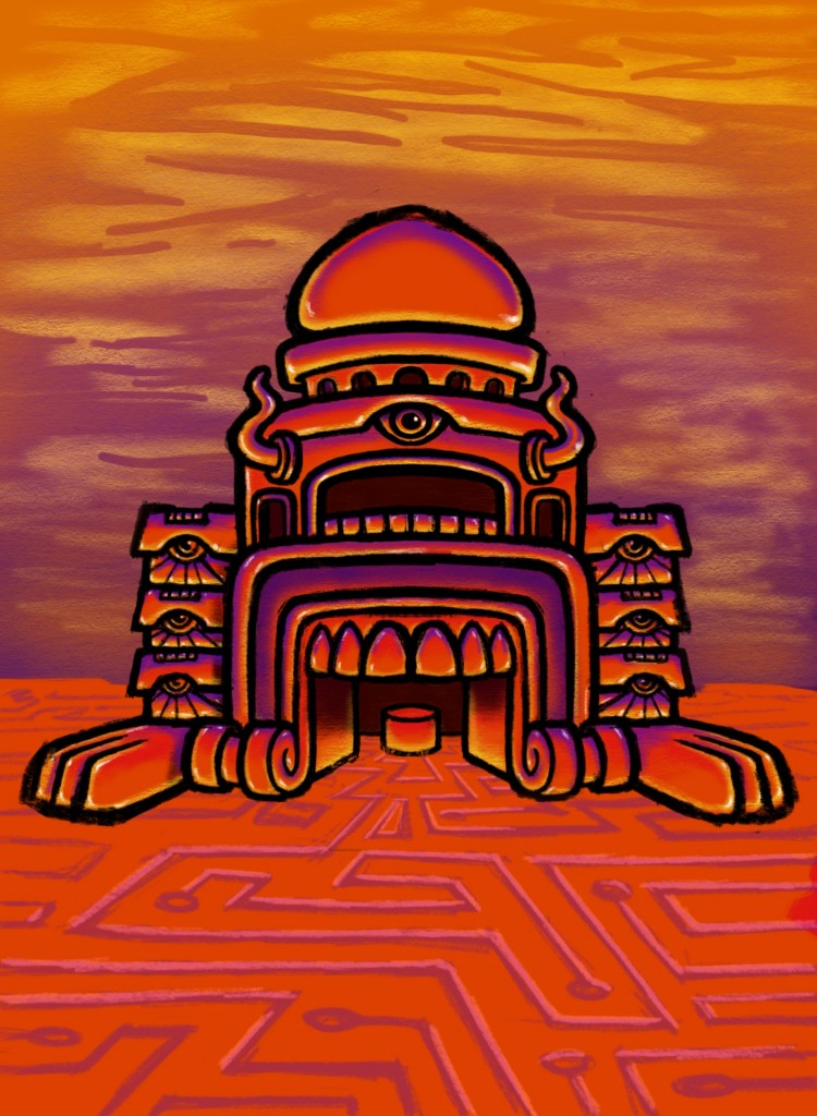 Psychedelic Monster Mouth Temple Sketch Color 03 Coghill