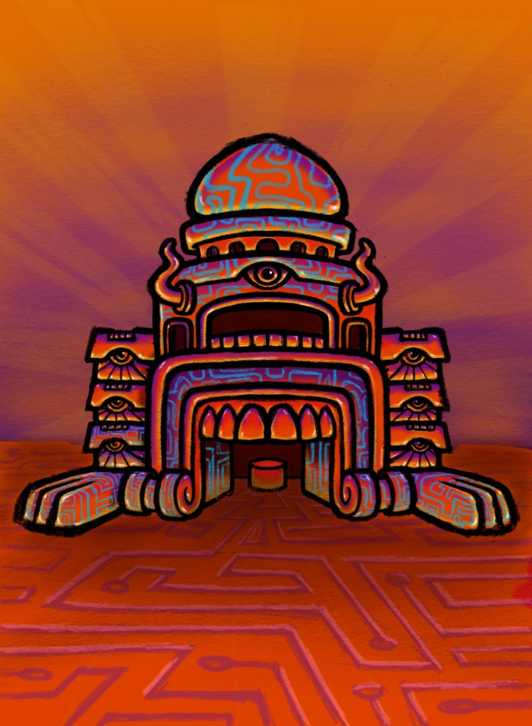 Psychedelic Monster Mouth Temple Sketch Color 04 Coghill