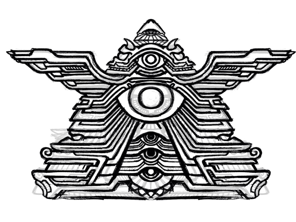 Winged Eye Pyramid psychedelic temple artwork.