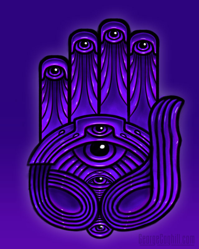 Psychedelic mystic hand & all-seeing eye visionary art by George Coghill.