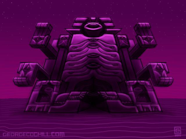 Far Fortress Daibutsu 01 Psychedelic Visionary Art Sketch Coghill