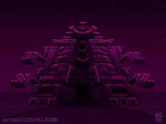 Far Fortress Daibutsu 02 Psychedelic Visionary Art Sketch Coghill