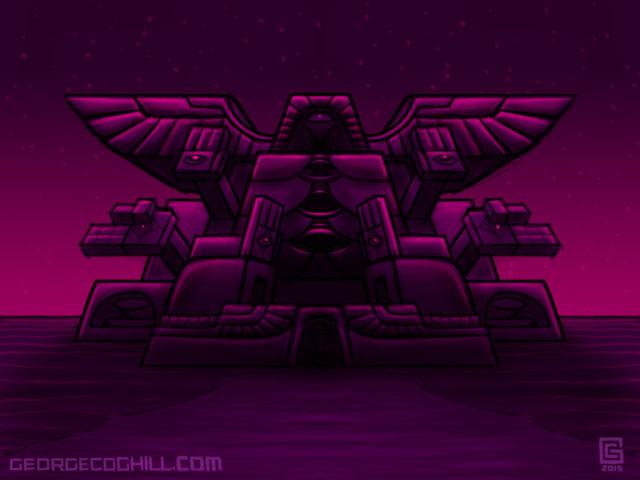 Far Fortress Daibutsu 03 Psychedelic Visionary Art Sketch Coghill