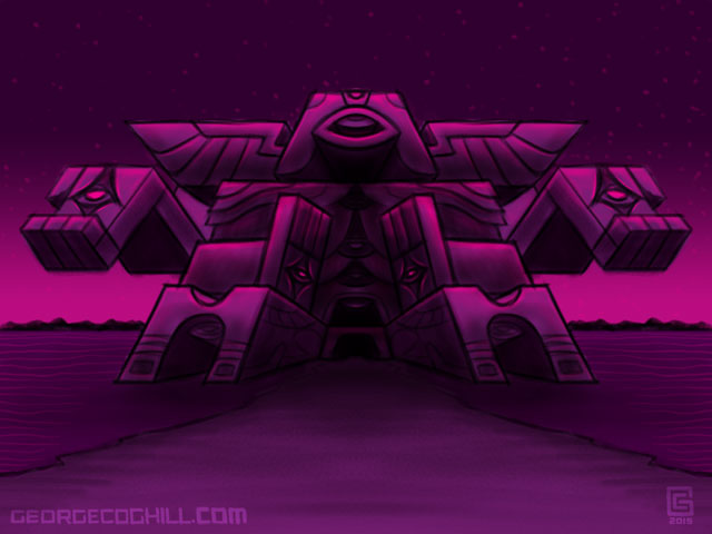 Far Fortress Daibutsu 04 Psychedelic Visionary Art Sketch Coghill