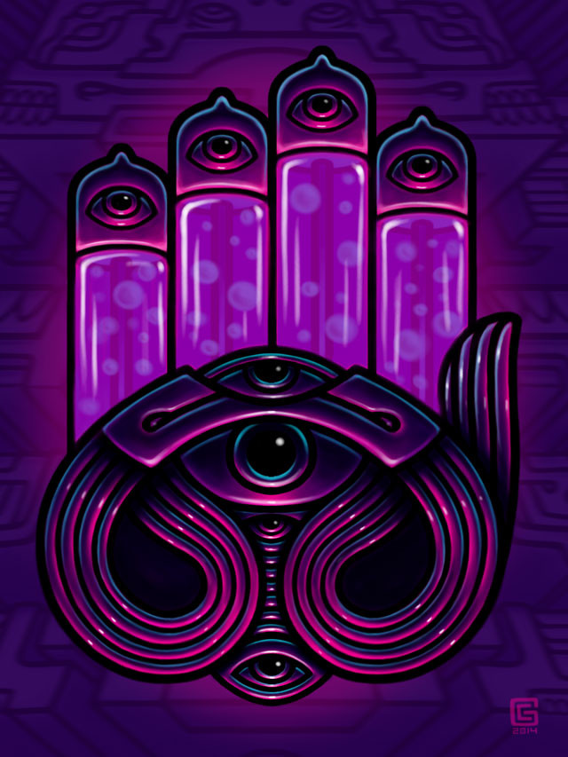 Mystic Hand visionary art psychedelic painting by George Coghill